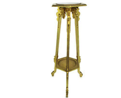Gothic Gold Gilded Pedestal Plant Bonsai Stand Table Rams Head Marble Top Wow