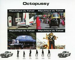 Chad James Bond Stamps 2020 Mnh Octopussy Roger Moore Cars Movies 4v Impf M/s