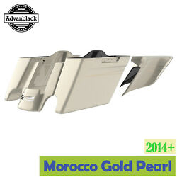 Morocco Gold Pearl Stretched Saddlebag Side Cover Pinstripes For 14+ Harley