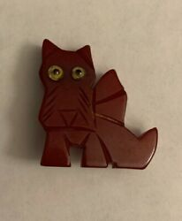 Vintage Bakelite Carved Cherry Red Terrier Brooch Pin Bow Wow