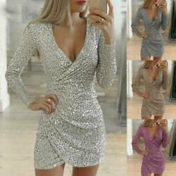 Womens Glitter Sequin Evening Party Mini Dress Bodycon Club Cocktail Wrap V Neck $20.80
