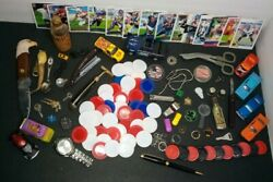 Vintage Mixed Junk Drawer Lot - Game Pieces Knives Cars Razors Military Coin