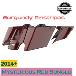 Mysterious Red Sunglo Extended Stretched Saddlebag Pinstripes Fits 2014+ Harley