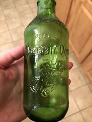 Rare Antique Green Embossed Mountain Dew Bottle It'll Tickle Your Innards