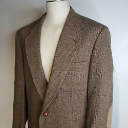 Vintage Stafford Tweed Sport Jacket Leather Elbow Patches 42xl Professor Brown