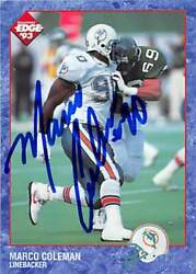 Marco Coleman Autographed Football Card Miami Dolphins 1993 Collectors Edge 112