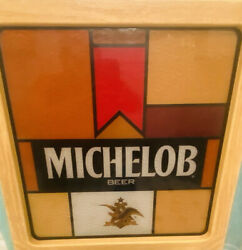 """Vintage Michelob Beer Lighted Sign 17"""" Tall. 16"""". Wide And 4.75"""" Deep Wood Case"""