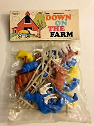 Vintage Joy Toy Down On The Farm Sealed New Horses Cows Sheep Fence Plastic D1