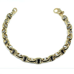 14k Yellow And White Gold Oval Mariner Link Mens Bracelet 8.5