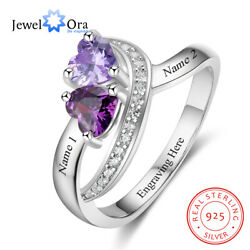 Personalized Women Rings 925 Silver Wedding Jewelry Gift Engrave Name Birthstone $21.99