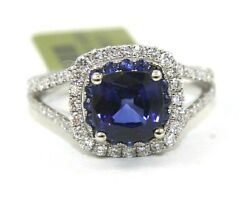 Natural Cushion Blue Sapphire And Diamond Solitaire Ring 14k White Gold 3.18ct