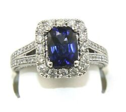 Emerald Cut Blue Sapphire And Diamond Halo Solitaire Ring 14k White Gold 2.83ct