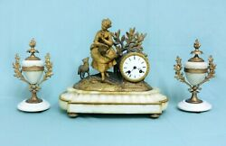 Antique French White Marble Clock Garniture Urn Set From The Romantic Period