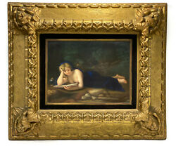 Dresden Hand Painted Plaque Penitent Magalene By L. Sturm After Correggio,c1900