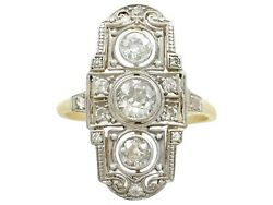 Antique Art Deco 0.87ct Diamond And 14ct Yellow Gold Dress Ring