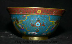 8.2 Old Chinese Cloisonne Enamel Copper Dynasty Palace 2 Dragon Bead Bowl Bowls