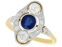 Vintage 0.38 Ct Sapphire And 0.50 Ct Diamond 14 Ct Yellow Gold Ring Art Deco