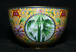 7.2 Old Chinese Cloisonne Enamel Copper Dynasty Palace Bamboo Flower Bowl Bowls