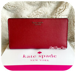 KATE SPADE LEATHER CAMERON LARGE SLIM BIFOLD WALLET IN ROSSO $48.88