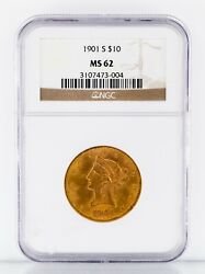 1901-s 10 Gold Liberty Eagle Graded By Ngc As Ms-62 Gorgeous Early Gold Coin