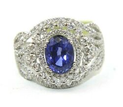 Natural Oval Blue Sapphire And Diamond Halo Solitaire Ring 14k White Gold 2.84ct