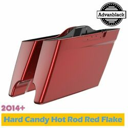 Hard Candy Hot Rod Red Flake Extended Bags Stretched Saddlebag Fits Harley 2014+