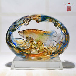 Glass Arts And Crafts Golden Dragon Fish Ornaments Company Opens Gift Decoration