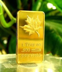 10 1 Oz One Troy Ounce Maple Leaf 500 Mills .999 Fine Gold Plated Bar