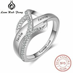 Personalized Women Rings 925 Sterling Silver Knot Name Engraved Fashion Jewelry $7.99