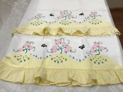 2 Vintage Hand Embroidered Pillowcases Cotton Butterflies Pink Flowers Ruffles
