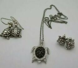 Vintage Silver Turtle Earrings And Necklace With Turtle Pendant Marked .925