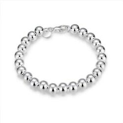 Silver Plated Round Beaded Bracelet Personalized Women Jewelry Gift Chain Buckle $9.19