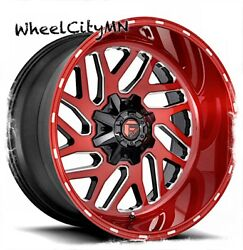 22 X10 Candy Red Milled Fuel D691 Triton Wheels Fits Ford F250 F350 8x170 -18