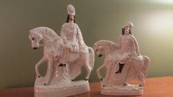 PAIR OF ANTIQUE STAFFORDSHIRE FIGURINES MEN ON HORSE BACK