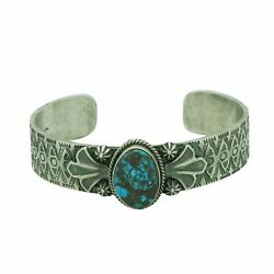 Bo Reeves Bracelet Apache Blue Turquoise Sterling Silver Navajo Made 6 5/8