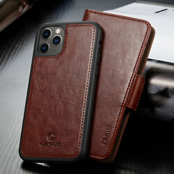 For iPhone 12 11 Pro Max XR XS Mini Removable Leather Wallet Magnetic Card Case