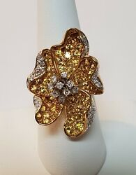 14k White And Yellow Gold -diamond And Yellow Sapphire Large Dimensional Flower Ring