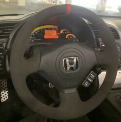Red V2 Honda S2000 Civic Si Acura Rsx Type-s Steering Wheel Wrap Suede