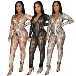 Sexy Women Hollow Out Perspective Long Sleeves Zipper Bodycon Jumpsuits Clubwear