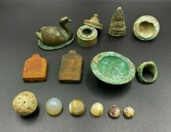 Lot Of 4 Pieces Bronze And Agate Mix Antique Antiquity Items From Central Asia