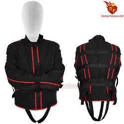 Bdsm Canvas Men Straitjacket Black Color With Red Piping