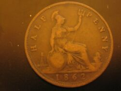 Rare 1862 Half Penny From Great Britain With C To The Left Of The Lighthouse