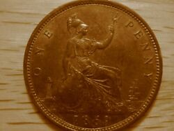 1869 Victorian Penny From Great Britain Gef Condition Very Rare F-59