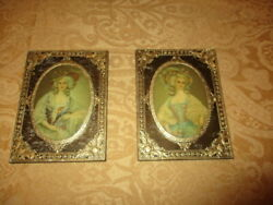Vintage 2 Matching Small Ornate Victorian Pictures Wall Wood Gold Framed Mint
