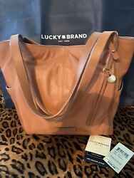 Lucky Tobacco Brown Leather Hobo Bucket Handbag $74.99