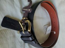 Coach Women#x27;s Handcrafted Leather Belt Solid Brass Buckle Black size L $29.99