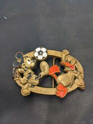 Baron Belt Buckle Vintage Disney Mickey Mouse Donald Duck Playing Soccer Brass