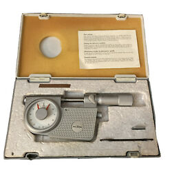 """Aus Jena Indicating Micrometer 0-1"""" .0001"""" Inspection Gage Snap Mic Go No Go"""