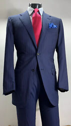 Bespoke Astor And Black Nobility Blue Pink Striped Suit 42 R Vented Working Cuffs