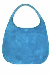 Devi Kroell Classic Long Hobo Turquoise Suede $101.95